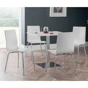 Pisa Dining Set In White With 4 Mandy White Chairs