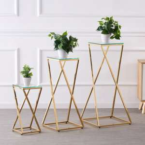 Pisa Set Of 3 Clear Glass Side Tables With Gold Steel Legs