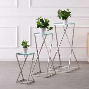 Pisa Set Of 3 Clear Glass Side Tables With Silver Steel Legs