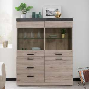 Piscis Display Cabinet In Sorrento Oak And Dark Concrete