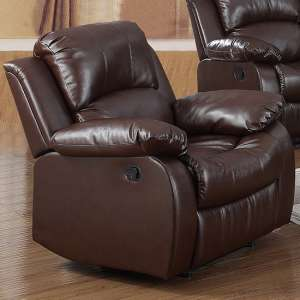 Piscium Leather Full Bonded Recliner 1 Seater Sofa In Brown