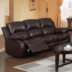 Piscium Leather Full Bonded Recliner 3 Seater Sofa In Brown