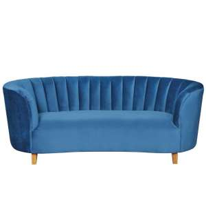 Pitkin 2 Seater Sofa In Blue Velvet With Wooden Legs