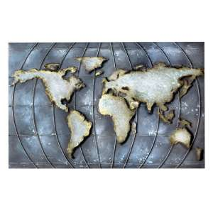 Planet Earth Picture Metal Wall Art In Grey