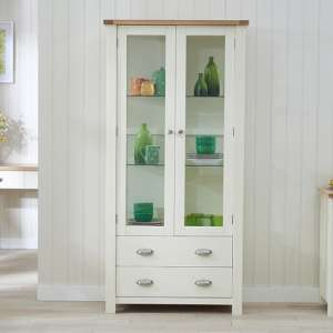 Platina Display Cabinet In Oak And Cream With 2 Doors