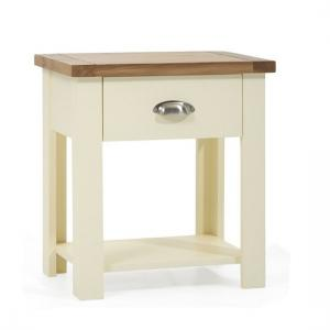 Platina Wooden Bedside Table In Oak And Cream With Drawer