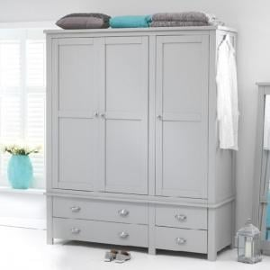 Platina Large Wardrobe In Grey With 3 Doors And 4 Drawers