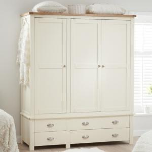 Platina Large Wardrobe In Cream And Oak With 3 Doors