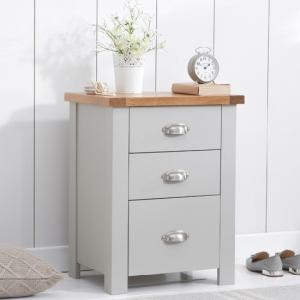 Platina Wooden Tall Bedside Cabinet In Oak And Grey