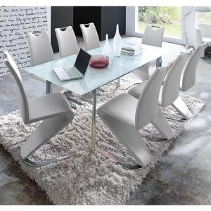 Plato 6 Seater Extendable White Dining Set With Amado Dining Cha