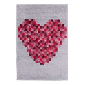 Play Days Pixel Heart Rug In Red And Grey Color