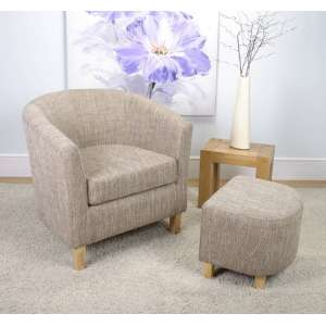 Pleven Tub Chair With Stool In Oatmeal Tweed Fabric