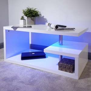 Point Coffee Table In White High Gloss With LED Lighting