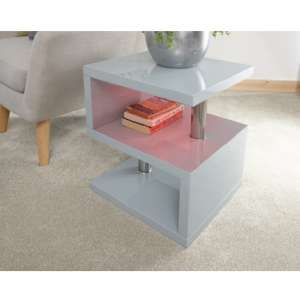Point Lamp Table In Grey High Gloss With LED Lighting