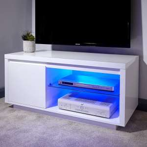 Point TV Stand In White High Gloss With LED Lighting