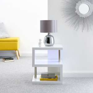 Point Lamp Table In White High Gloss With LED Lighting