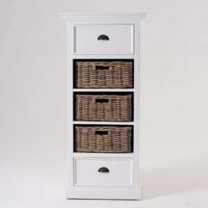 Porth Wooden Storage Unit With Basket Set In Classic White
