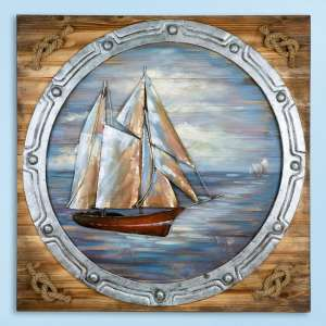 Porthole Picture Metal Wall Art In Blue And Natural