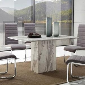 Portia Marble Dining Table Rectangular In White Carerra