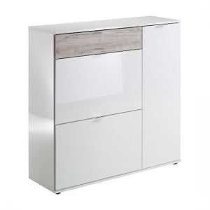 Portino Wide Shoe Cabinet In White High Gloss And Sand Oak