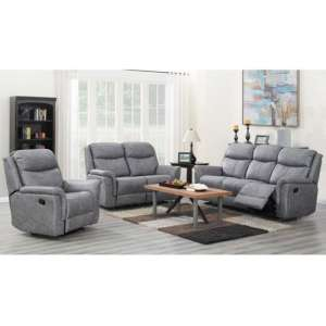 Portland 3 Seater Sofa And 2 Armchairs Suite In Silver Grey