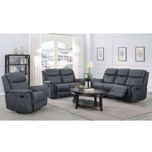 Portland 3 Seater Sofa And 2 Armchairs Suite In Slate Grey