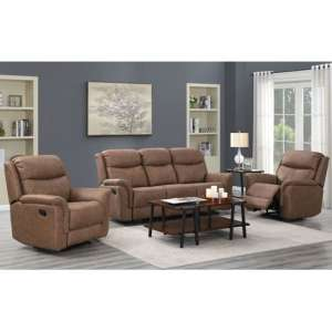 Portland Fabric 3 And 2 Seater Sofa Suite In Dark Taupe
