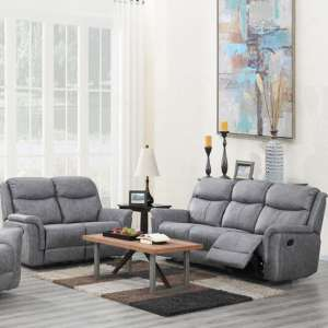 Portland Fabric 3 And 2 Seater Sofa Suite In Silver Grey