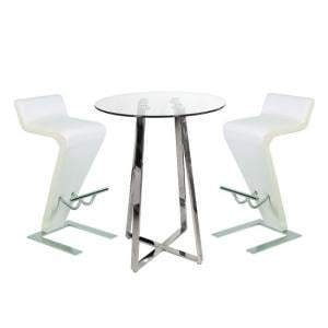 Poseur Bar Table In Clear Glass With 2 Farello White Bar Stools