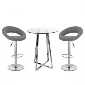 Poseur Bar Table In Clear Glass With 2 Leoni Grey Bar Stools