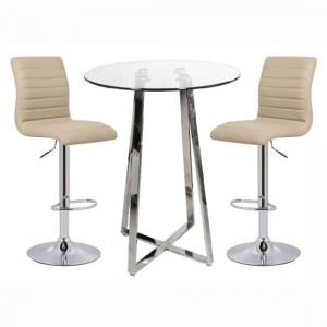 Poseur Bar Table In Clear Glass With 2 Ripple Stone Bar Stools