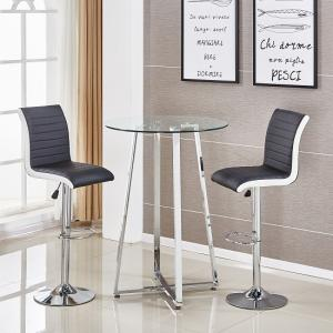 Poseur Glass Bar Table With 2 Ritz Black And White Bar Stools