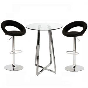 Poseur Glass Top Bar Table with 2 Leoni Black Bar Stools