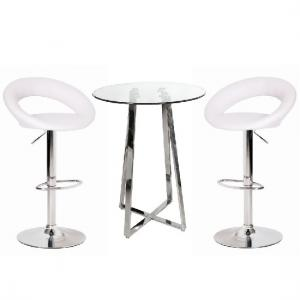 Poseur Glass Top Bar Table with 2 Leoni White Bar Stools