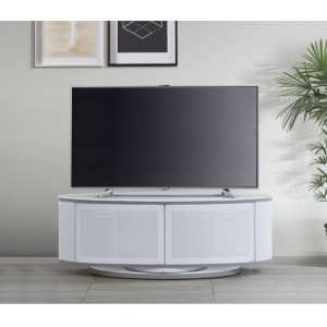 Powell Glass Top TV Stand In White High Gloss With Grey Trim