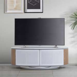 Powell White Glass Top TV Stand In Oak And White Gloss
