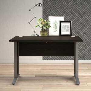 Prax 120cm Computer Desk In Black With Silver Grey Legs