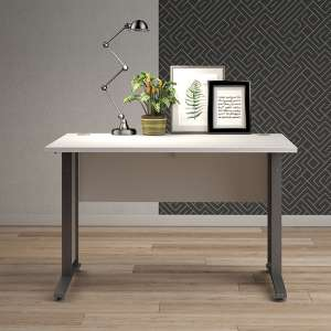 Prax 120cm Computer Desk In White With Silver Grey Legs