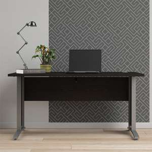 Prax 150cm Computer Desk In Black With Silver Grey Legs