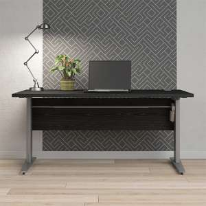 Prax Electric 150cm Computer Desk In Black With Silver Grey Legs