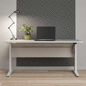Prax Electric 150cm Computer Desk In White With Silver Grey Legs
