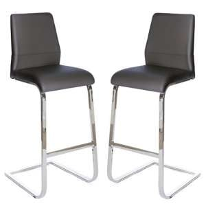 Presto Bar Stool In Grey PU With Chrome Legs In A Pair