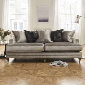 Preston 4 Seater Sofa In Pewter Velvet With Dark Wooden Legs