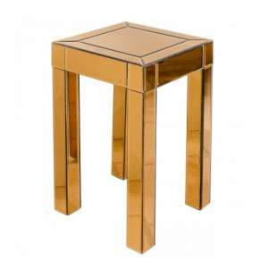 Preston Mirrored Side Table Square In Bronze