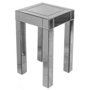 Preston Mirrored Side Table Square In Titanium Grey