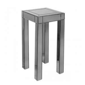 Preston Mirrored Tall Side Table Square In Titanium Grey