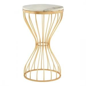 Prima Hourglass Design Marble Top Side Table With Gold Frame