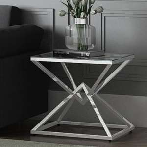 Prism Glass Side Table With Polished Stainless Steel Base