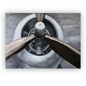 Propeller 3D Picture Canvas Wall Art In Silver And Grey