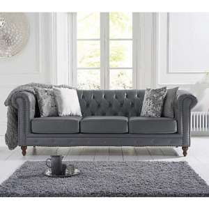Propus Leather 3 Seater Sofa In Grey